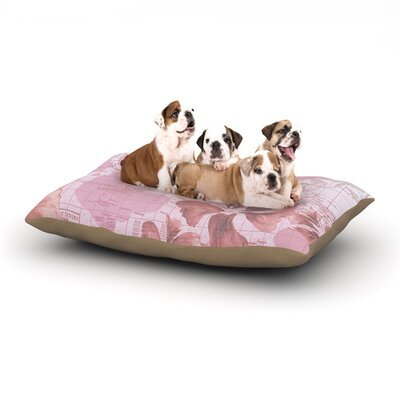 Catherine Holcombe Flower Power Map Dog Pillow with Fleece Cozy Top Size: Large (50 W x 40 D x 8 H), Color: Pink
