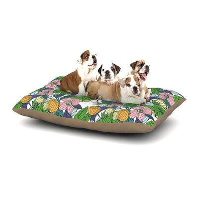 Catherine Holcombe Spring Foliage Floral Pastels Dog Pillow with Fleece Cozy Top Size: Small (40 W x 30 D x 8 H)
