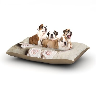 Cristina Mitchell Smile Wood Roses Dog Pillow with Fleece Cozy Top Size: Small (40 W x 30 D x 8 H)