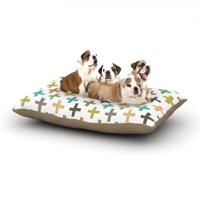 Daisy Beatrice Hipster Crosses Repeat Dog Pillow with Fleece Cozy Top Size: Small (40 W x 30 D x 8 H)