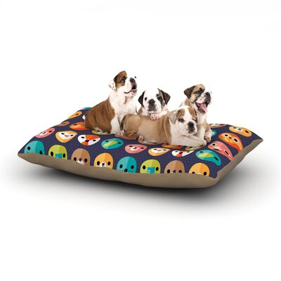 Daisy Beatrice 'Smiley Faces Repeat' Dog Pillow with Fleece Cozy Top Size: Small (40