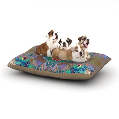 Danii Pollehn Flowery Floral Kaleidoscope Dog Pillow with Fleece Cozy Top Size: Large (50 W x 40 D x 8 H)
