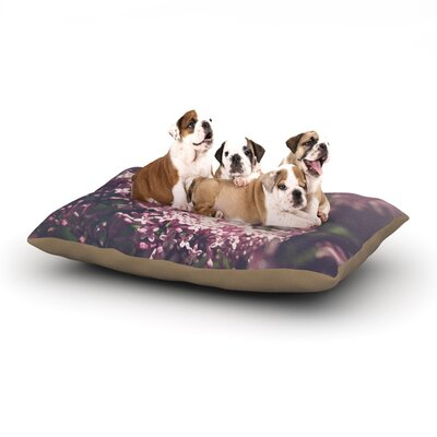 Jillian Audrey Lilacs Floral Dog Pillow with Fleece Cozy Top Size: Small (40 W x 30 D x 8 H)
