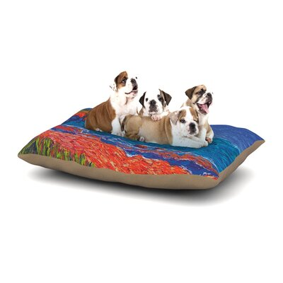 Jeff Ferst Sea Shore Coastal Painting Dog Pillow with Fleece Cozy Top Size: Small (40 W x 30 D x 8 H)