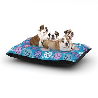Julia Grifol Floral Winter Dog Pillow with Fleece Cozy Top Size: Small (40 W x 30 D x 8 H)