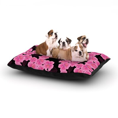 Julia Grifol Pink on Black Dog Pillow with Fleece Cozy Top Size: Large (50 W x 40 D x 8 H)