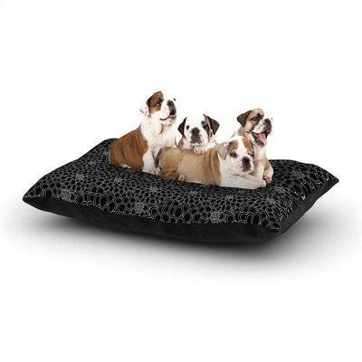 Julia Grifol Black Flowers Dark Floral Dog Pillow with Fleece Cozy Top Size: Small (40 W x 30 D x 8 H)