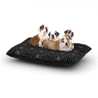 Julia Grifol Black Flowers Dark Floral Dog Pillow with Fleece Cozy Top Size: Large (50 W x 40 D x 8 H)