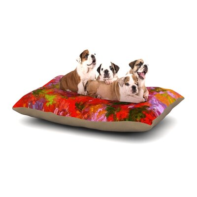 Jeff Ferst Summer Garden Floral Painting Dog Pillow with Fleece Cozy Top Size: Small (40 W x 30 D x 8 H)