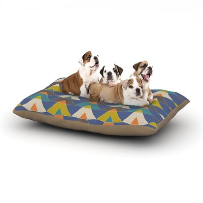 Julia Grifol Colorful Triangles Dog Pillow with Fleece Cozy Top Size: Large (50 W x 40 D x 8 H)