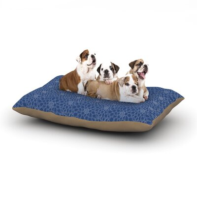 Julia Grifol White Flowers on Blue Dog Pillow with Fleece Cozy Top Size: Small (40 W x 30 D x 8 H)