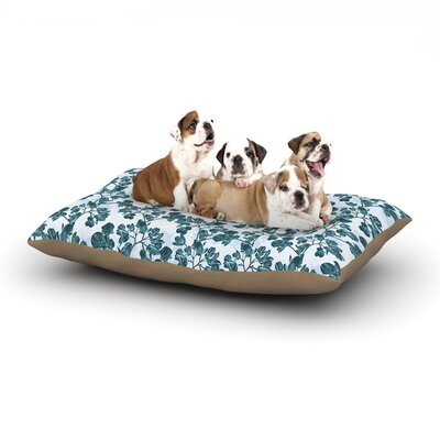 Julia Grifol Green Flowers Dog Pillow with Fleece Cozy Top Size: Small (40 W x 30 D x 8 H)