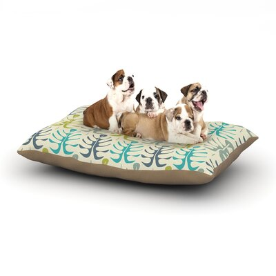 Julia Grifol My Leaves Dog Pillow with Fleece Cozy Top Size: Small (40 W x 30 D x 8 H), Color: Teal/Green