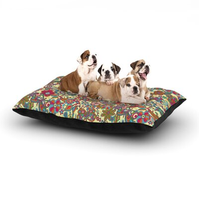 Julia Grifol My Butterflies & Flowers in Yellow Dog Pillow with Fleece Cozy Top Size: Large (50 W x 40 D x 8 H)