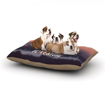 Jillian Audrey Life is a Daring Adventure Typography Dog Pillow with Fleece Cozy Top Size: Large (50 W x 40 D x 8 H)