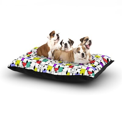 Julia Grifol My Happy Squares Dog Pillow with Fleece Cozy Top Size: Large (50 W x 40 D x 8 H)