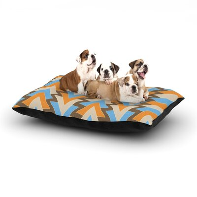 Julia Grifol My Triangles Dog Pillow with Fleece Cozy Top Color: Blue/Aqua/Orange, Size: Large (50 W x 40 D x 8 H)