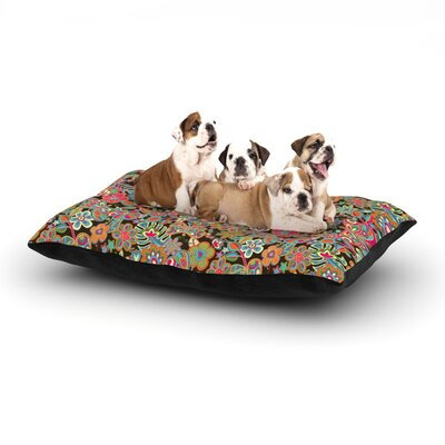 Julia Grifol My Butterflies & Flowers Floral Dog Pillow with Fleece Cozy Top Color: Brown/Rainbow, Size: Large (50 W x 40 D x 8 H)