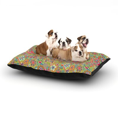 Julia Grifol My Butterflies & Flowers Floral Dog Pillow with Fleece Cozy Top Size: Small (40 W x 30 D x 8 H), Color: Green/Rainbow
