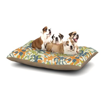 Julia Grifol Summer Tropical Leaves Dog Pillow with Fleece Cozy Top