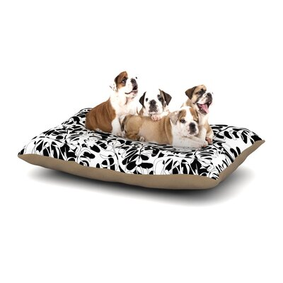 Julia Grifol White Leaves Dog Pillow with Fleece Cozy Top