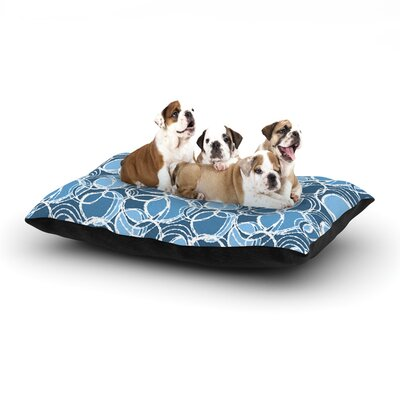 Julia Grifol Simple Circles Dog Pillow with Fleece Cozy Top Size: Small (40 W x 30 D x 8 H), Color: Blue