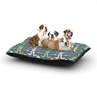 Julia Grifol My Leaves Dog Pillow with Fleece Cozy Top Color: Blue, Size: Large (50 W x 40 D x 8 H)