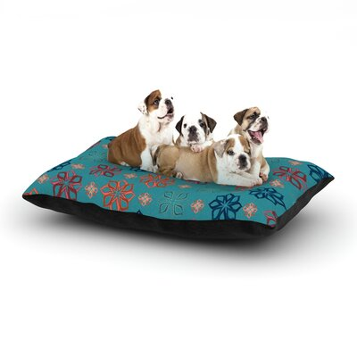 Jolene Heckman 'Turquoise Mini' Flowers Dog Pillow with Fleece Cozy Top Size: Small (40