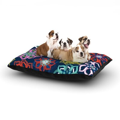 Jolene Heckman Multi Flower Flowers Dog Pillow with Fleece Cozy Top Size: Large (50 W x 40 D x 8 H)