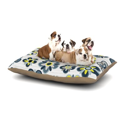 Jolene Heckman Folksy Dog Pillow with Fleece Cozy Top Size: Small (40 W x 30 D x 8 H), Color: Blue/Yellow/Gray