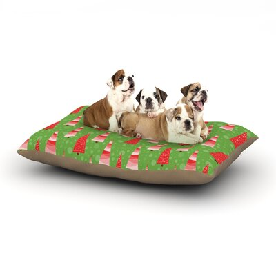 Julie Hamilton 'Juniper' Christmas Trees Dog Pillow with Fleece Cozy Top Size: Small (40