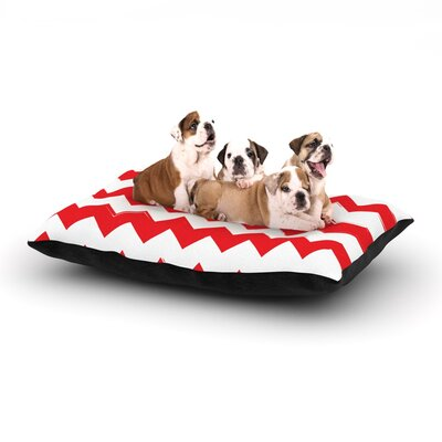 Candy Cane Chevron Dog Pillow with Fleece Cozy Top Size: Large (50 W x 40 D x 8 H), Color: Red