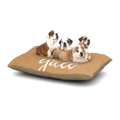 Hey Yall Dog Pillow with Fleece Cozy Top Size: Small (40 W x 30 D x 8 H), Color: White/Brown