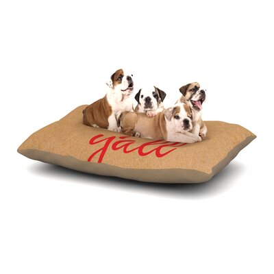 Hey Yall Dog Pillow with Fleece Cozy Top Size: Small (40 W x 30 D x 8 H), Color: Red/Brown