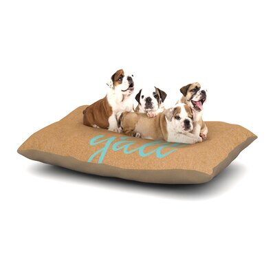 Hey Yall Dog Pillow with Fleece Cozy Top Size: Large (50 W x 40 D x 8 H), Color: Brown/Blue