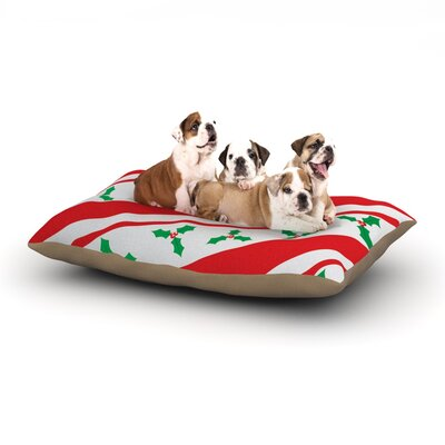 Holiday Holly Christmas Holiday Dog Pillow with Fleece Cozy Top Size: Small (40 W x 30 D x 8 H)