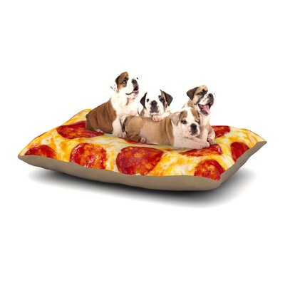 KESS Original Pizza My Heart Pepperoni Cheese Dog Pillow with Fleece Cozy Top Size: Small (40 W x 30 D x 8 H)
