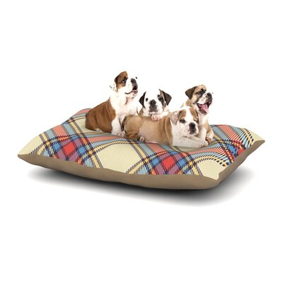Sunday Brunch Plaid Tartan Dog Pillow with Fleece Cozy Top