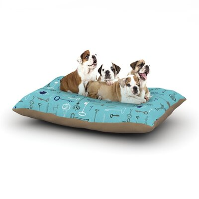 Laurie Baars Keys Dog Pillow with Fleece Cozy Top Size: Small (40 W x 30 D x 8 H), Color: Blue/Aqua