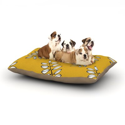 Laurie Baars Pagoda Leaf Gold Leaves Dog Pillow with Fleece Cozy Top Size: Small (40 W x 30 D x 8 H)