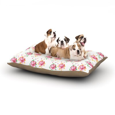 Laura Escalante Cross Stitch Flowers Dog Pillow with Fleece Cozy Top Size: Large (50 W x 40 D x 8 H)