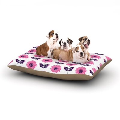 Laura Escalante Gerbera Flower Dog Pillow with Fleece Cozy Top Size: Large (50 W x 40 D x 8 H), Color: Pink/Purple