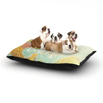 Libertad Leal What a Wonderful World Map Dog Pillow with Fleece Cozy Top Size: Small (40 W x 30 D x 8 H)