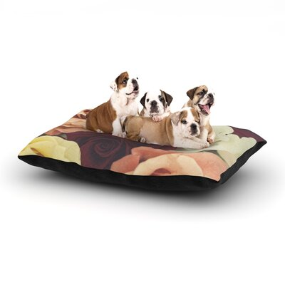Libertad Leal Vintage Roses Dog Pillow with Fleece Cozy Top Size: Large (50 W x 40 D x 8 H)