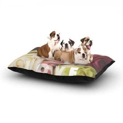 Libertad Leal Love Love Love Roses Dog Pillow with Fleece Cozy Top Size: Large (50 W x 40 D x 8 H)