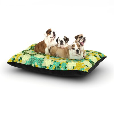 Laura Nicholson Flower Garden Mosaic Dog Pillow with Fleece Cozy Top Size: Small (40 W x 30 D x 8 H)