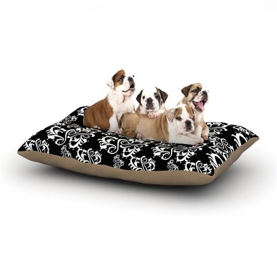 Mydeas Sweetheart Damask Black Dog Pillow with Fleece Cozy Top Color: Black/White, Size: Large (50 W x 40 D x 8 H)