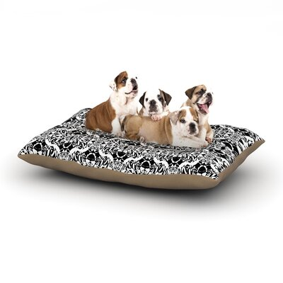 Mydeas Illusion Damask Monochrome Dog Pillow with Fleece Cozy Top Size: Large (50 W x 40 D x 8 H), Color: Black/White