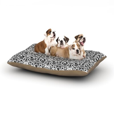 Mydeas Fancy Damask Dog Pillow with Fleece Cozy Top Size: Large (50 W x 40 D x 8 H), Color: Black/White/Gray