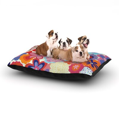 Louise Machado Patchwork Flowers Dog Pillow with Fleece Cozy Top Size: Small (40 W x 30 D x 8 H)